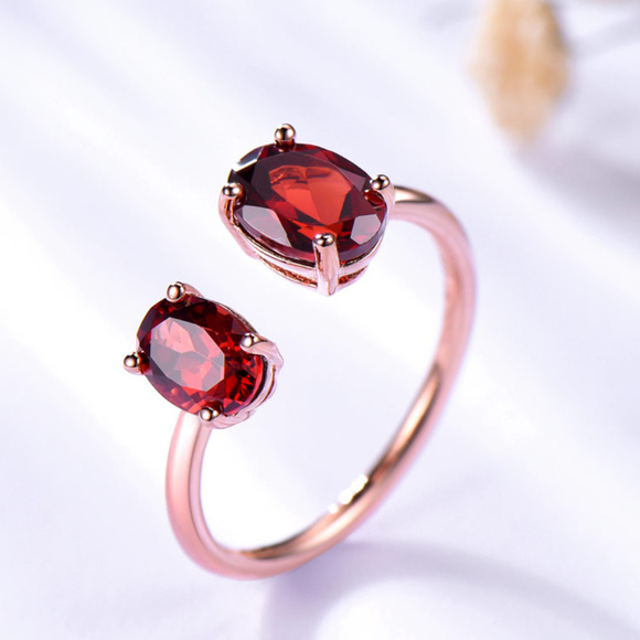 018dce1b2 Penfine Jewelry | Red Garnet Engagement Ring Open Sterling Silver ...